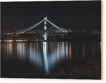 Bridge Lights Wood Print by Michael Courtney