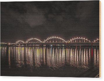 Wood Print featuring the photograph Bridge Lights by Ray Congrove