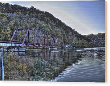 Bridge On A Lake Wood Print