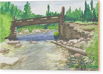 Bridge On The Red Cloud Loop Wood Print