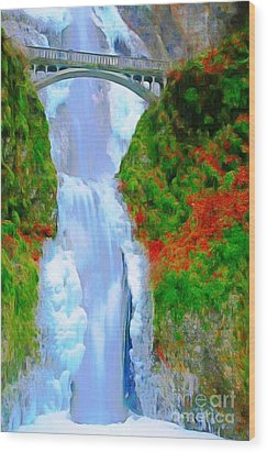 Bridge Over Beautiful Water Wood Print