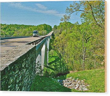 Bridge Over Birdsong Hollow At Mile 438 Of Natchez Trace Parkway-tennessee Wood Print by Ruth Hager