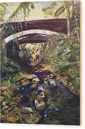 Bridge Over Calm Waters Wood Print