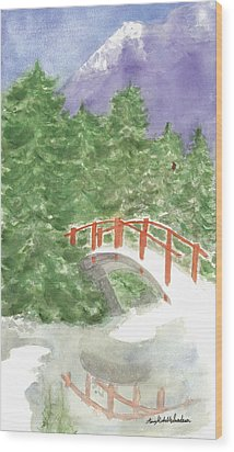 Bridge Over Frozen Water Wood Print