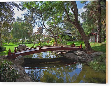 Wood Print featuring the photograph Bridge Over Japanese Gardens Tea House by Jerry Cowart