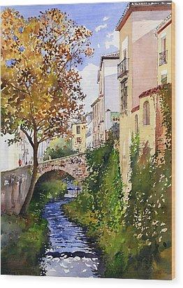 Bridge Over The Rio Darro Wood Print by Margaret Merry