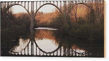 Bridge Over The River Cuyahoga Wood Print by Patricia Januszkiewicz