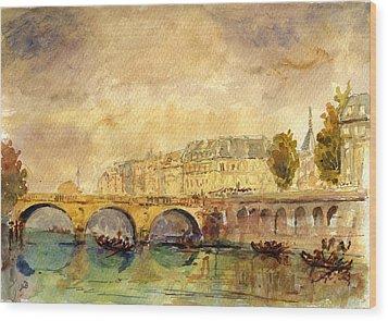 Bridge Over The Seine Paris. Wood Print by Juan  Bosco