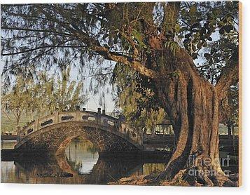 Bridge Over Water At Japanese Garden Wood Print by Sami Sarkis