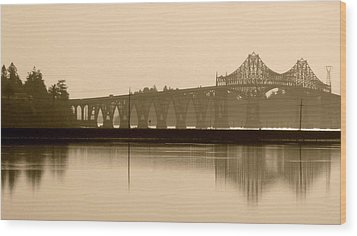 Bridge Reflection In Sepia Wood Print