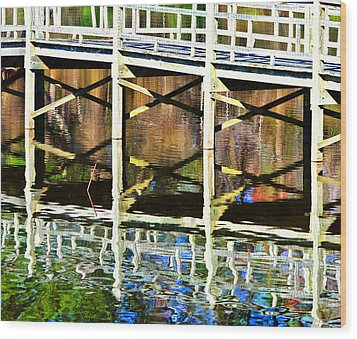 Wood Print featuring the photograph Bridge Reflections by John Harding