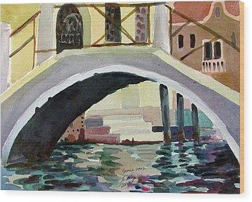 Bridge Reflections Venice Wood Print