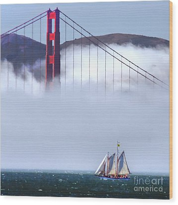 Bridge Sailing Wood Print