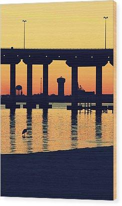 Bridge Sunset Wood Print by Hillery Bosarge