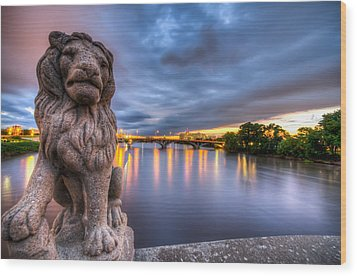 Bridge To Czech Village In Cedar Rapids At Sunset Wood Print