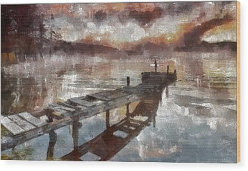 Wood Print featuring the painting Bridge To Eternity by Georgi Dimitrov