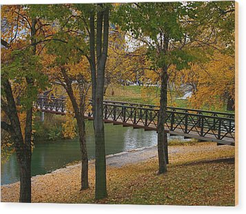 Wood Print featuring the photograph Bridge To Fall by Elizabeth Winter