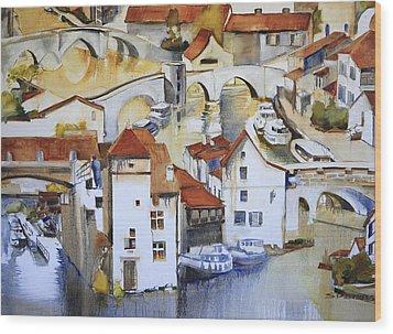 Bridge To Lock Wood Print by Shirley  Peters