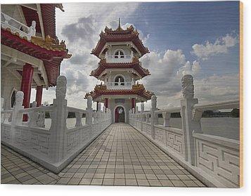 Bridge To Pagoda At Chinese Garden Wood Print by David Gn
