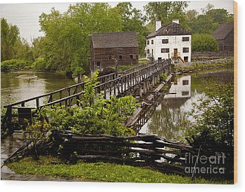 Wood Print featuring the photograph Bridge To Philipsburg Manor Mill House by Jerry Cowart