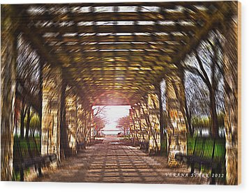 Wood Print featuring the photograph Bridge To The Light From The Series The Imprint Of Man In Nature by Verana Stark