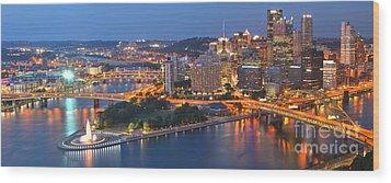Bridge To The Pittsburgh Skyline Wood Print by Adam Jewell