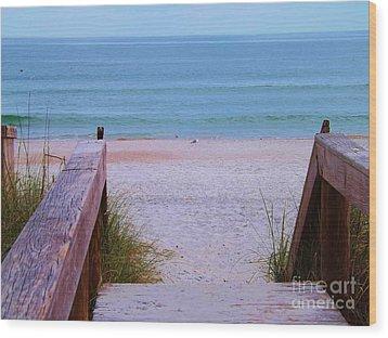 Bridge To The Sea Wood Print