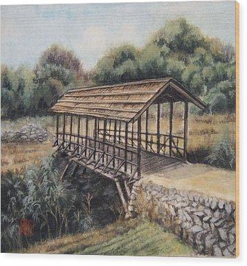 Bridge Wood Print by Tomoko Koyama