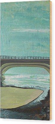 Bridge Where Waters Meet Wood Print by Joseph Demaree