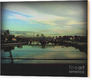 Bridge With White Clouds Wood Print by Miriam Danar