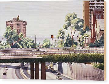 Bridges Over Rt 5 Downtown San Diego Wood Print by Mary Helmreich