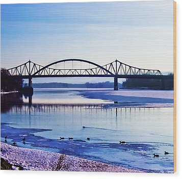 Bridges Over The Mississippi Wood Print by Christi Kraft