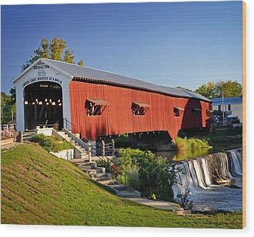 Bridgeton Covered Bridge 3 Wood Print by Marty Koch
