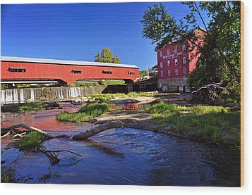 Bridgeton Covered Bridge 4 Wood Print by Marty Koch