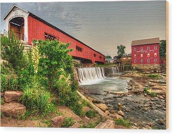 Bridgeton Mill And Covered Bridge Wood Print by Gregory Ballos