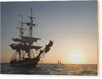 Brig Pilgrim At Sunset Wood Print
