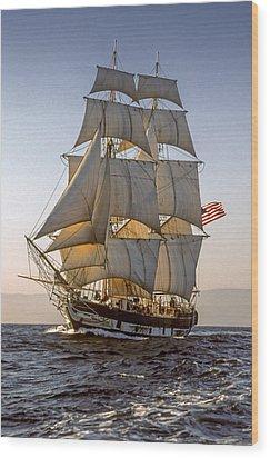 Brig Pilgrim Off Santa Barbara Wood Print