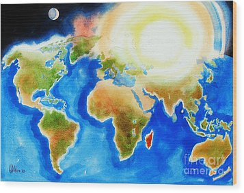 Bright Blue World Map In Watercolor With Sunshine And Moon  Wood Print by Kip DeVore