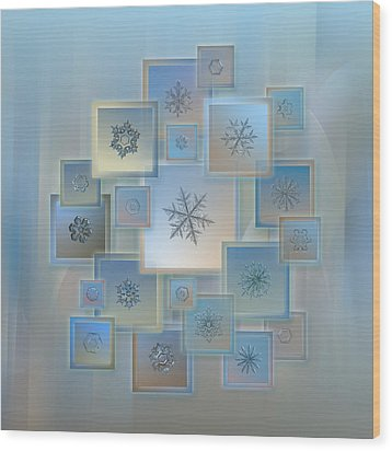Wood Print featuring the photograph Snowflake Collage - Bright Crystals 2012-2014 by Alexey Kljatov