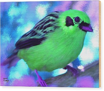 Bright Green Finch Wood Print