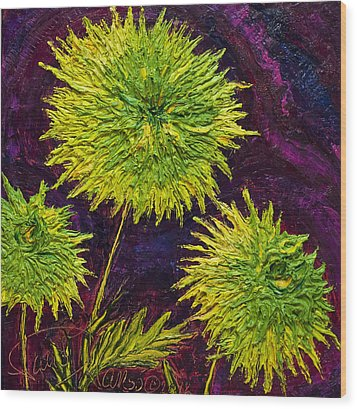 Bright Green Mums Wood Print by Paris Wyatt Llanso
