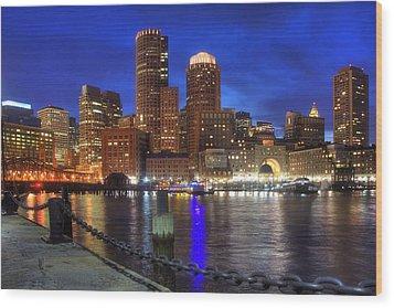 Bright Lights Boston Wood Print by Joann Vitali