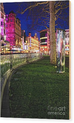 Bright Lights Of London Wood Print by Jasna Buncic