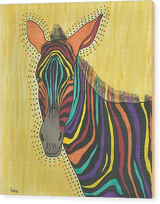 Wood Print featuring the painting Bright Lite African Zebra  by Susie Weber