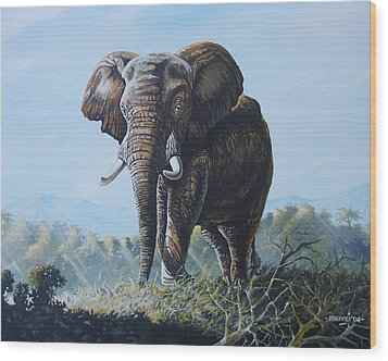 Wood Print featuring the painting Bright Morning by Anthony Mwangi