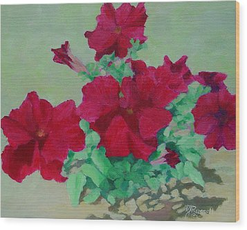 Red Flowers Art Brilliant Petunias Bright Floral  Wood Print