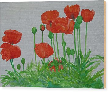 Red Poppies Colorful Flowers Original Art Painting Floral Garden Decor Artist K Joann Russell Wood Print