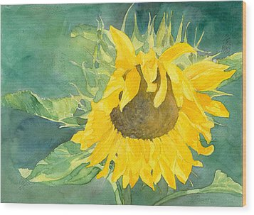 Bright Sunflower Wood Print