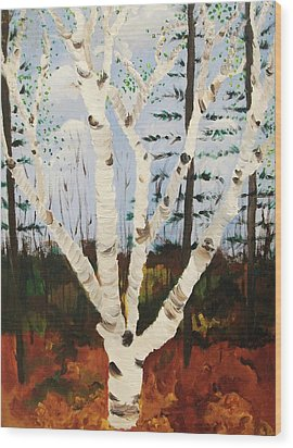 Brightest Birch Wood Print by Suzanne  Marie Leclair