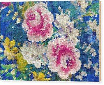 Brightly Floral Wood Print by Susan Leggett